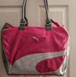Puma pink and gray gym bag